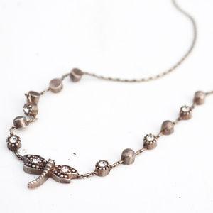 Rose Gold Rhinestone DragonFly Necklace Pendant